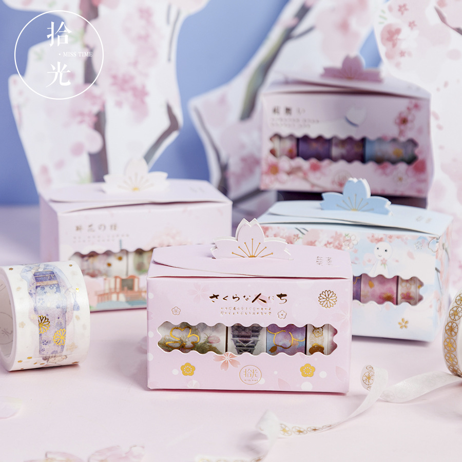 5 Pcs/pack Gilding Cherry Sakura Flower Season Washi Tape Set DIY Scrapbooking Sticker Label Masking Tape School Office Supply