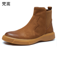 big size Genuine Leather Chelsea boots men shoes high top all match cowhide Riding boots steel toe shoes autumn winter British