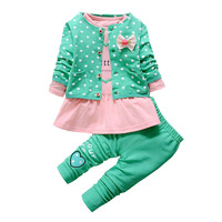 BibiCola 2017 Kids Spring New Korean Wave Point Clothing Set Baby Girls Cute Clothes Suit Childern
