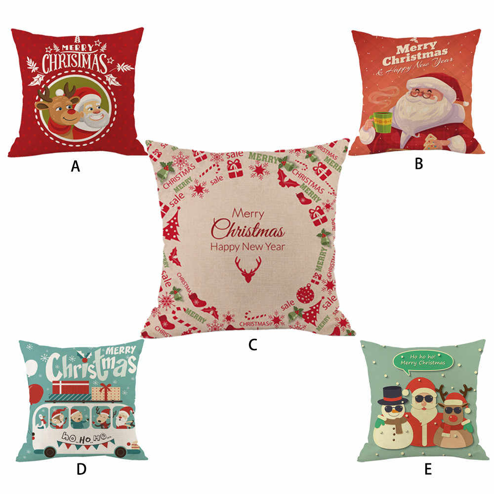 New Year Merry Christmas Throw Pillow Cases Cafe Creative Merry Christmas  LED Light Pillow Cover Soft Plush Funda Almohada Kerst