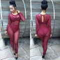 Fashion Rompers Womens Jumpsuit Bodycon Round Neck Long Sleeve Sexy One piece Outfits See Through Long Pants Sexy Club Wear