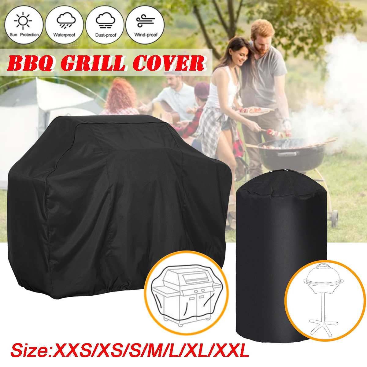 Waterproof Anti-Corrosion BBQ Barbecue Grill Dust Protector Polyester Rain Cover