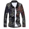 2017HOT nueva marca de moda camisa de la flor camisa masculina otoño de los hombres casual negro slim fit hombres de negocios camisa de manga larga M-7XL