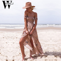 WYHHCJ 2017 Sexy Off Shoulder Summer Dress Slash Neck Printing Long Beach Dresses Short Sleeve Vent