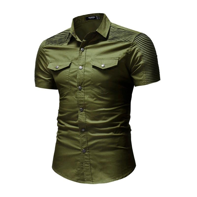 2018 New Summer Fashion Shirt Mens High Street Solid Color Short Sleeve Male Shirt Stripe fold Social Shirts Mens Dress Shirts