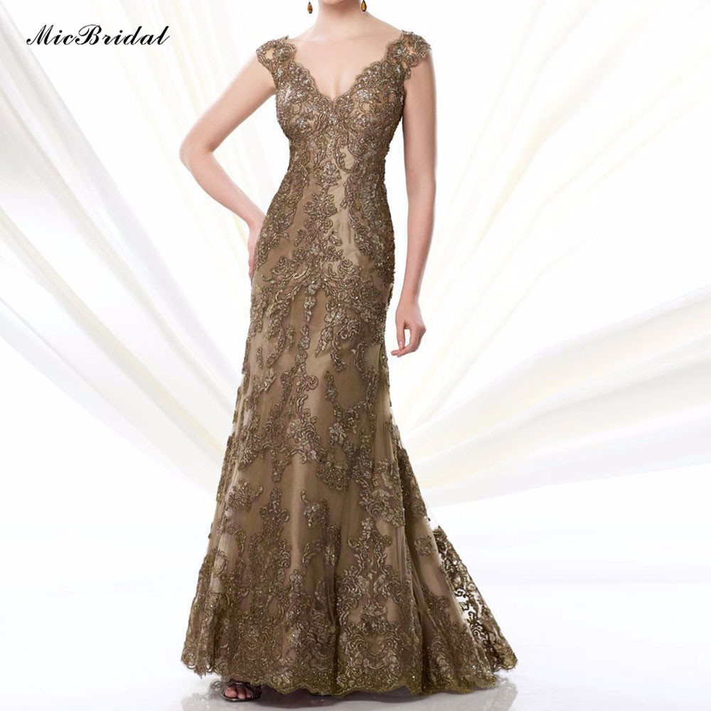 Stunning Mother Of The Bride Dresses: Stunning Cap Sleeves Gold Lace Mermaid Mother Of The Bride