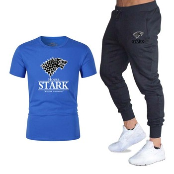two piece set men t-shirt pants game of thrones tshirt print wolf sweat suits o-neck tops tees mens sport suit casual streetwear
