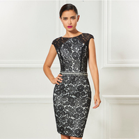 Tanpell scoop neck cap sleeves black cocktail dress elegant knee length sheath wedding party formal beaded lace cocktail dresses