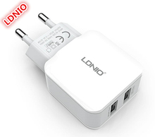 Wholesale LDNIO 2USB Ports quick journey Charger 5v3.4A EU socket auto detect required present for iPhone Samsung Telephones Tablets