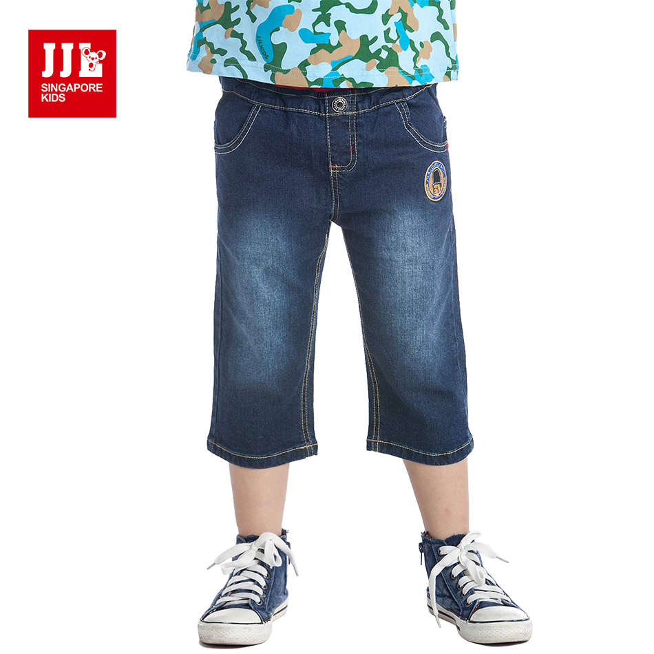 JJL KIDS Summer Cotton Solid Calf-Length Overalls Kids' Pants for Boys 2018 Children Fashion Casual Jeans Navy Pants 5-11years 2018 summer new lace stitching calf length pants denim cotton straight jeans women s fashion enbroidery thin jeans nw17b1088