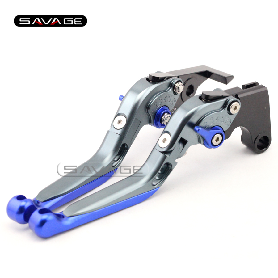 For YAMAHA FZ1/FZ6 Fazer FZ6R XJ6 Diversion Gray+Blue Motorcycle Adjustable Folding Extendable Brake Clutch Lever