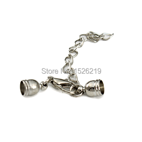 20set/lot Silver Copper End Caps Fit 5mm Round Leadther Cord Adjustable Lobster Clasp For Bracelet DIY Jewellery Making F2168 ...