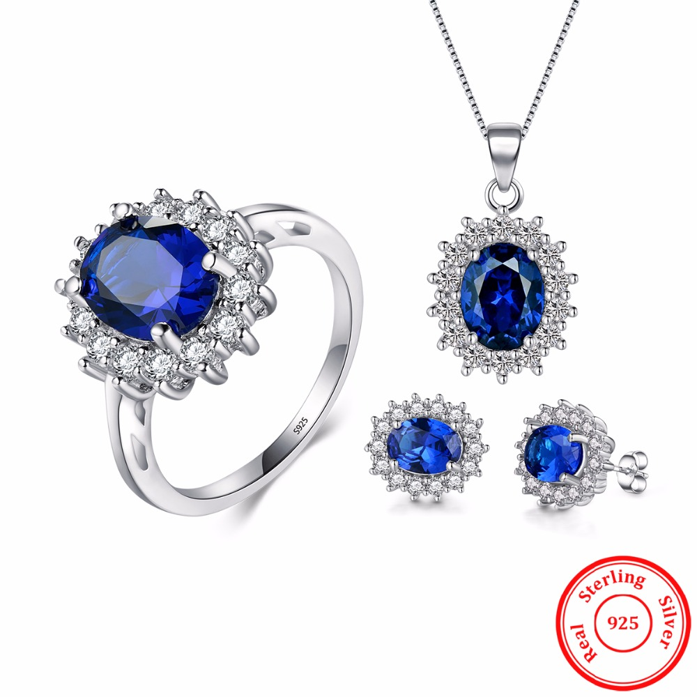 2017 New Classic Jewelry Earrings Clear Oval Crystal Pendant Necklace Real 925 Sterling silver Sets Fashion For Women Chain