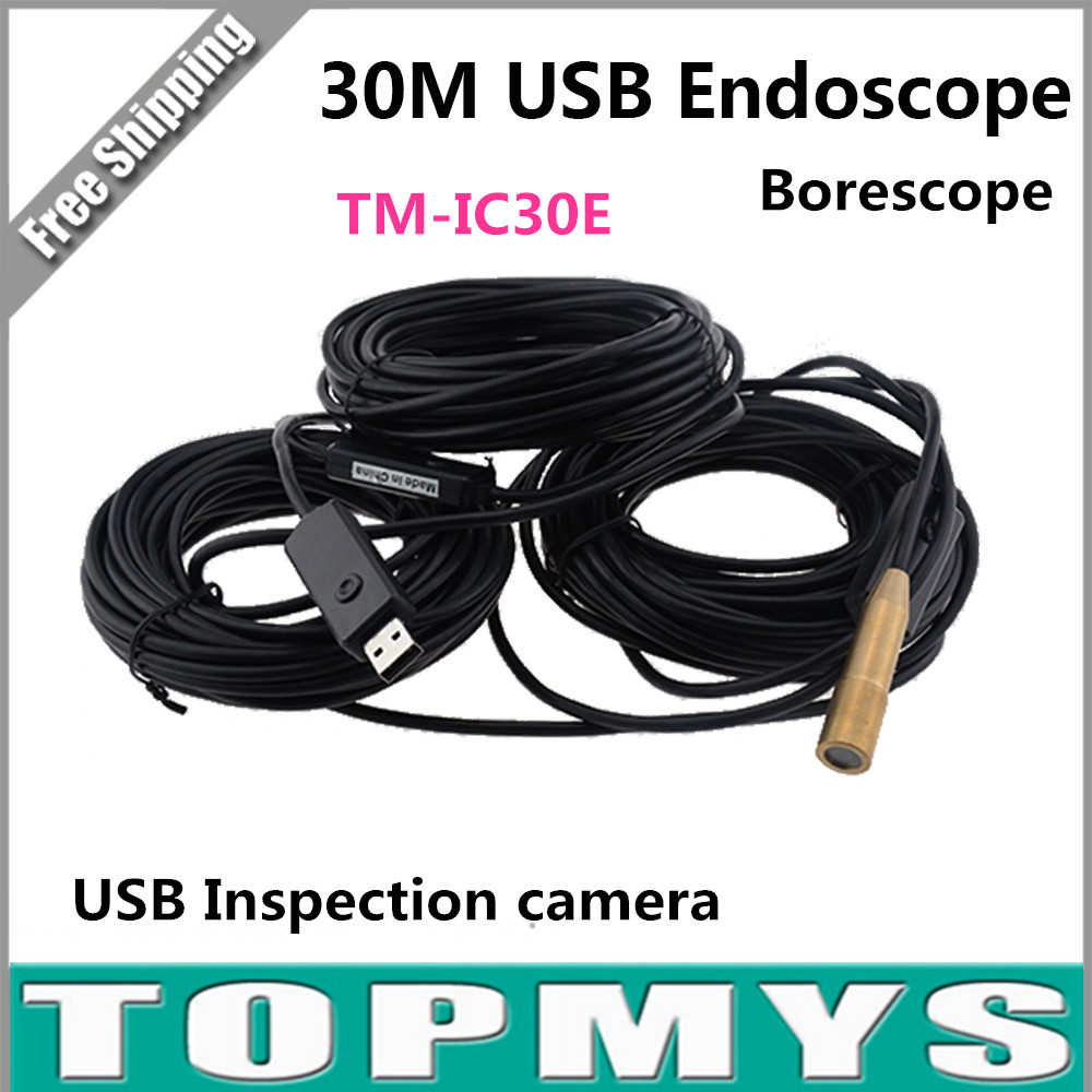 Free Ship 30m USB Endoscope Inspection Camera with 4 LED Waterproof Pure Copper Endoscope Borescope Tube Visual Camera XR-IC30E supereyes waterproof inspection camera 10x professional endoscope usb 7mm diameter with 500mm tube led