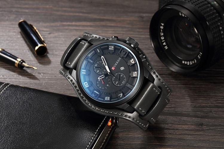 HTB1W4H4cEGF3KVjSZFvq6z nXXaN CURREN Top Brand Luxury Mens Watches Male Clocks Date Sport Military Clock Leather Strap Quartz Business Men Watch Gift 8225
