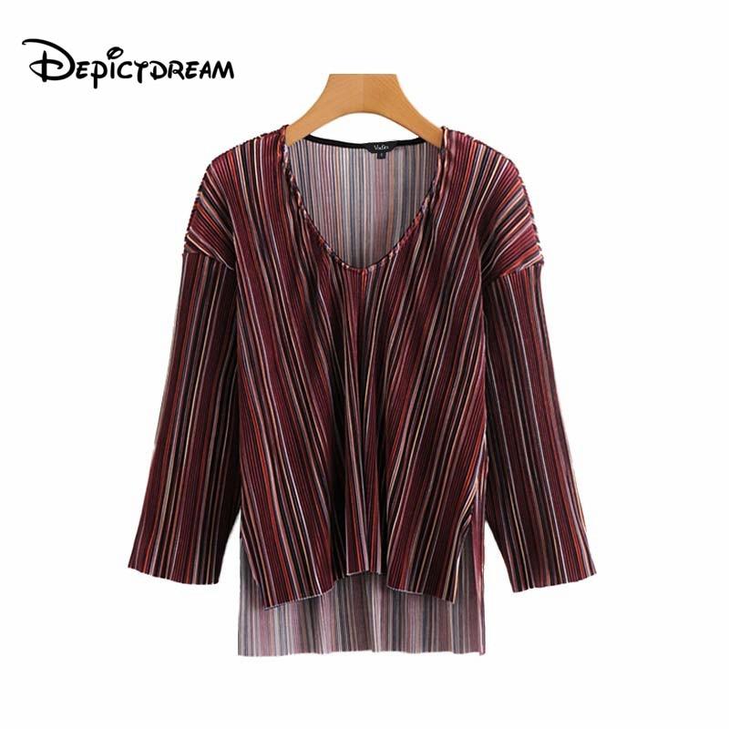 7950d125ec1 Diseño Picture As 2019 De V Colorida Camisas Cuello Blusas En Larga A Rayas  Top Casuales Mujeres Vintage Mujer Blusa Manga Asimétrico wRHwA7q