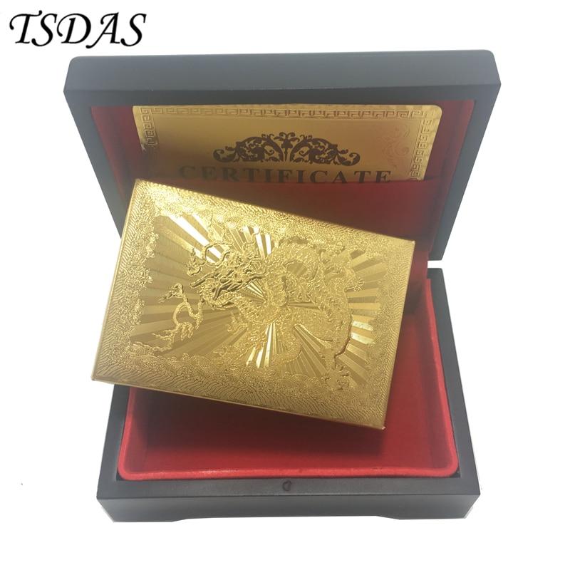 아름다운 8.8 * 5.7CM 드래곤 플라스틱 카드 놀이 양쪽 양면 금 도금, 기념품 카드 놀이 나무 케이스 무료 배송