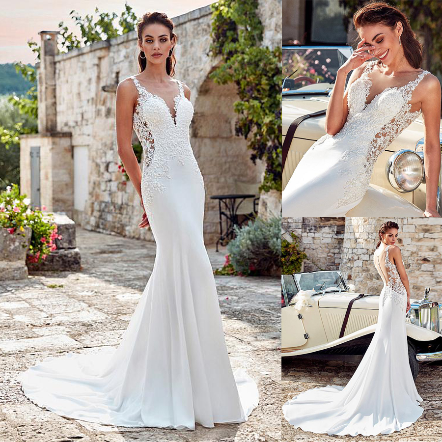 30cdb33717f Graceful Acetate Satin Scoop Neckline Mermaid Wedding Dress With Beaded  Lace Appliques Illusion Back Bridal Gowns