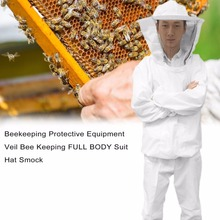Beekeeping Protective Equipment Veil Bee Keeping FULL BODY Suit Hat Smock S-XXL White Cotton Beekeeping Jacket Utility & Safety