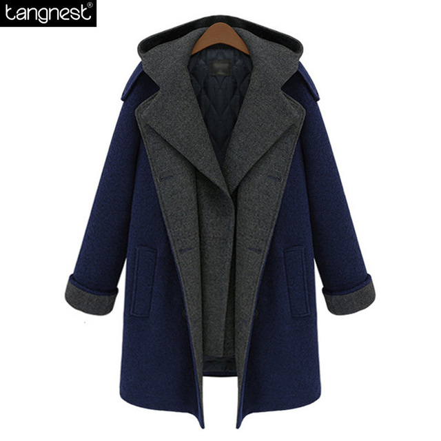 TANGNEST Hooded Winter Pea Coat Women 2017 Thick Warm Button Up