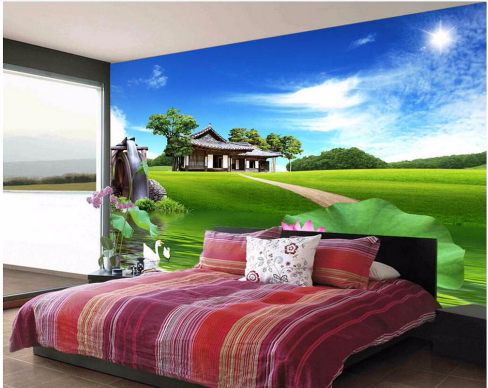 3d wallpaper custom photo Blue sky and white clouds pond lotus room decoration painting 3d wall murals wallpaper for walls 3 d custom photo 3d ceiling murals wallpaper sky white clouds dove leaves decor 3d wall murals wallpaper for living room painting