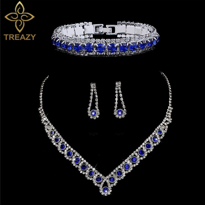 TREAZY Wedding-Jewelry-Set Necklace Earrings Rhinestone Bracelet Choker Crystal Fashion