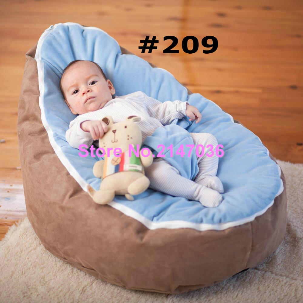 Brown with blue harness cover seat  Zipper Baby Bean Bag Soft Sleeping Bag Portable Seat Without FillingBrown with blue harness cover seat  Zipper Baby Bean Bag Soft Sleeping Bag Portable Seat Without Filling