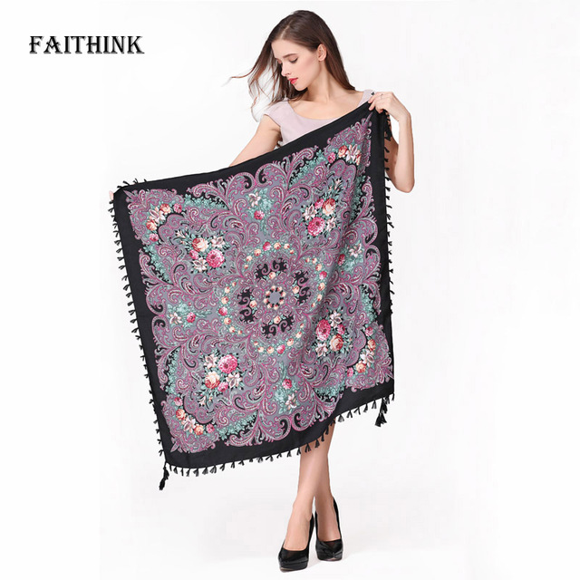 [FAITHINK] Fashion Russian Women Tassel Square Scarf Shawl Lady Printed Floral Short Tassel Headband Bohemia Cape Wrap Scarves