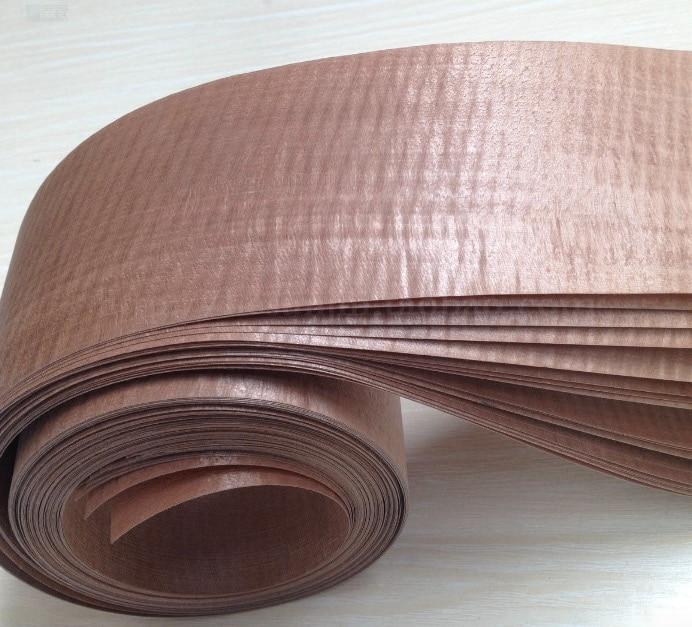 Length:2.5meters  Thickness:0.35mm  Width:10cm  Brown Film Veneer Wood Technology Manual Leather Furniture Wood Edge