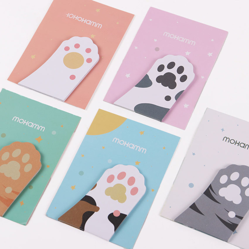 3PCS Office Stationery Sticky Notes Korea Cute Cat Paw 30 Pages Sticker Post It Bookmark Point It Marker Memo Sticker WJ-SMT84