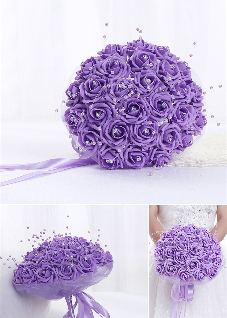 Crystals pearl flowers pink purple red wedding bouquet big bridal crystals pearl flowers pink purple red wedding bouquet big bridal bouquet with ribbon band in wedding bouquets from weddings events on aliexpress izmirmasajfo