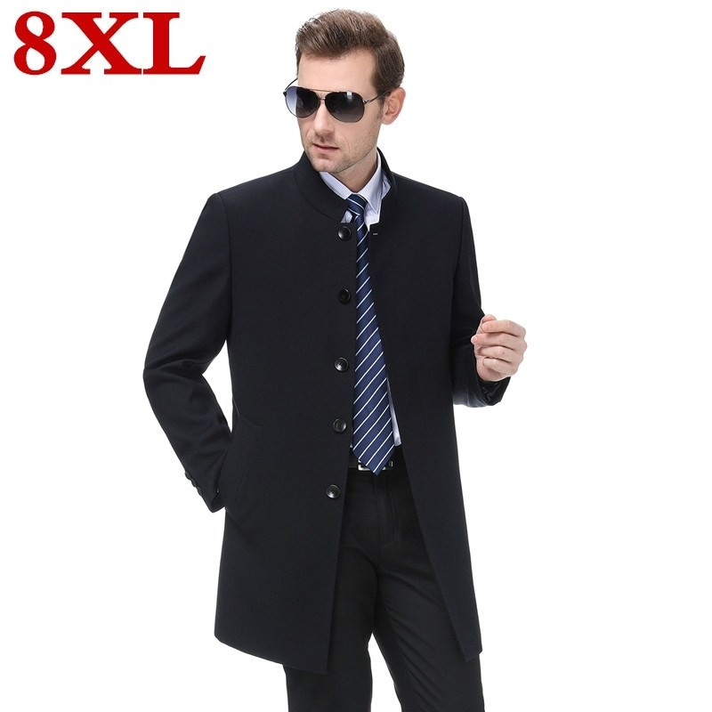 New Plus Size 7XL 8XL Spring Autumn Mens Trench Coat Male Blazer Designs Slim Fit Business Casual Suit Trench Jacket Windbreaker