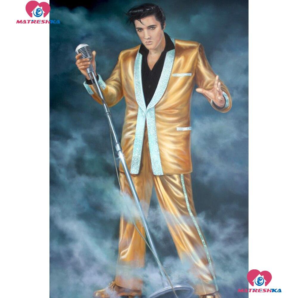 5D hágalo usted mismo Diamante Pintura Elvis Presley Bordado Completo Cuadrado Mosaico De Punto De Cruz