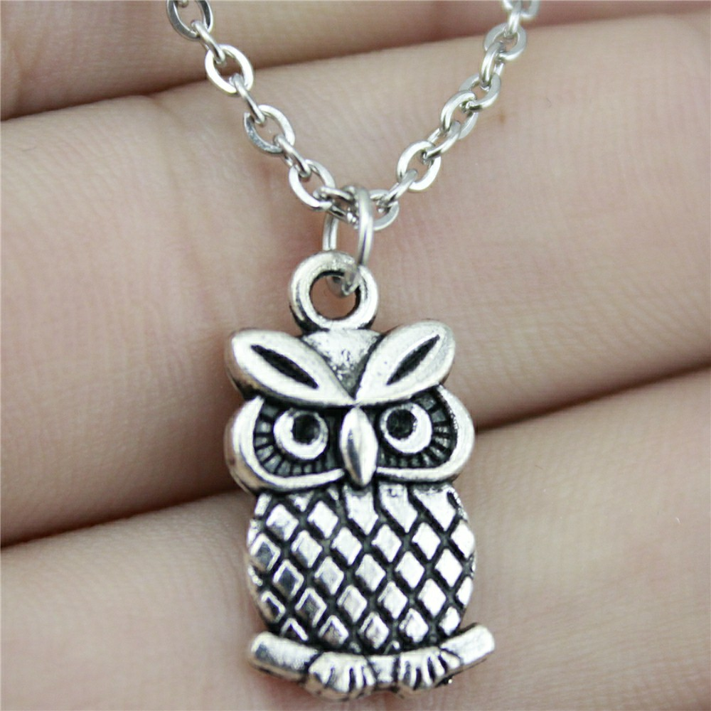 Dropshipping Welcome 20x11mm Double Sided Owl Pendant Necklace Antique Silver Color Necklace Fashion 2019