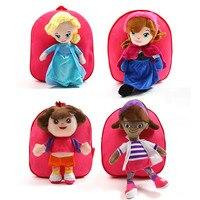 Cartoon Girls Backpacks 30cm Soft Plush Stuffed Animal Elsa DOC Dora Doll Anime Character Kids Toys