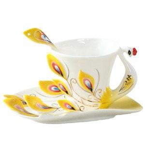 Image 5 - Emaliowane kubki do kawy kubki na herbatę z łyżeczką spodek zestawy Procelain Creative Drinkware Lover Gift