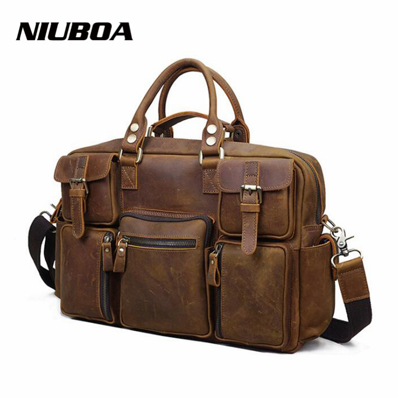 NIUBOA 100% Cow Leather Men Handbag Vintage Crazy Horse Leather Crossbody Shouler Bag Business Laptop Messenger Big Bag For MaleNIUBOA 100% Cow Leather Men Handbag Vintage Crazy Horse Leather Crossbody Shouler Bag Business Laptop Messenger Big Bag For Male