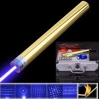 High Power Blue Laser Pointer 10000m 450nm Lumen Focusable Burning Lazer Set Burn Paper Lit Cigarette Cutting Hunting