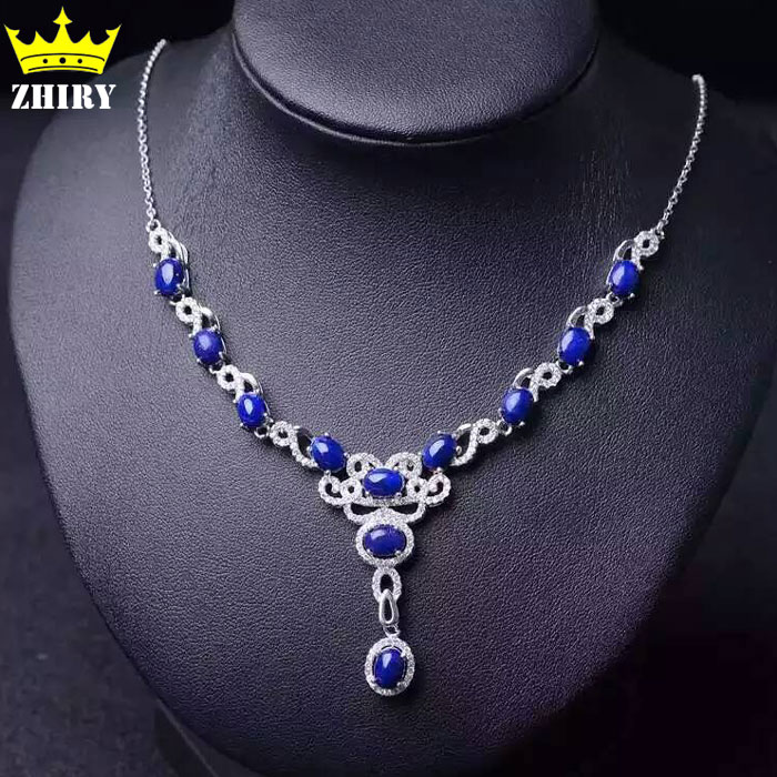 Natural Lapis Gem Necklace Blue Stone Genuine 925 Sterling Silver Women