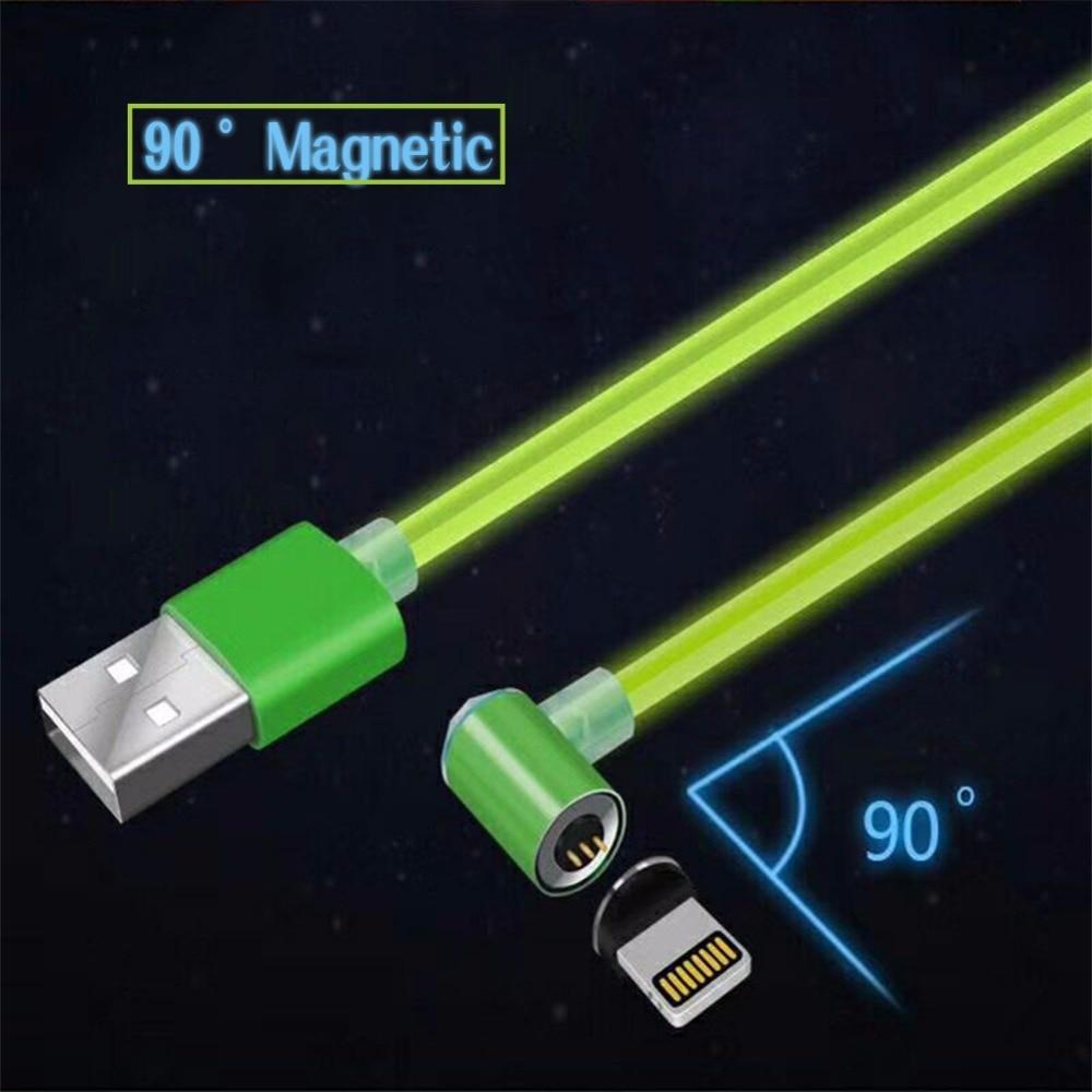 3 в 1 данных зарядного шнура для кабель Lightning iPhone X/8/7 Магнитная 90 градусов угол локоть android Быстро Магнит кабель мобильного телефона