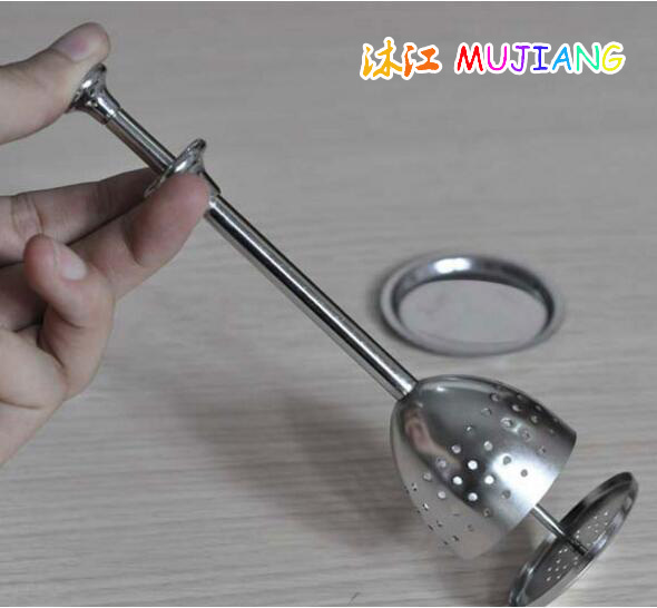 Nový nerezový síťový čajový infuzor opakovaně použitelný sítko sypaný čajový list Bylinný filtr Čajový sítko 4,5 * 17 cm