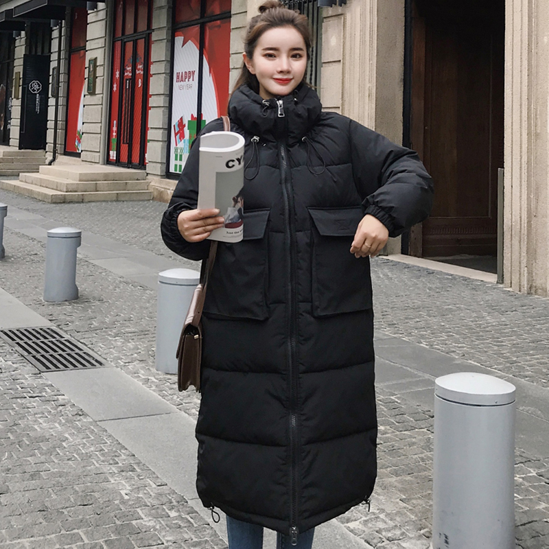 2019 Oversized Loose Winter Jacket Women Hooded Padded Long Female   Down     Coat   Ladies Warm Solid Parka Parkas