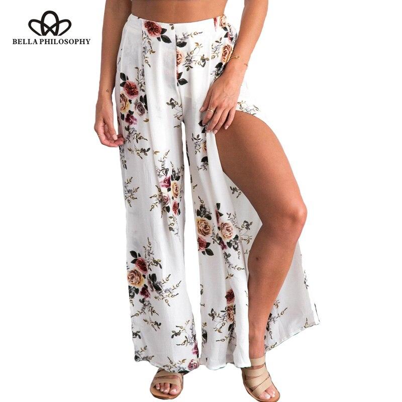 Bella Philosophy 2018 Pantalones De Pierna Ancha Lateral Mujer Boho Verano Playa Pantalones Largos Elasticos De Cintura Alta Wide Leg Pants Wide Leg Pants Womenleg Pants Aliexpress