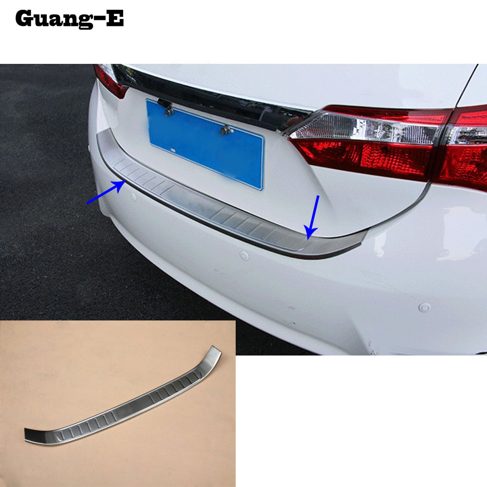 цена на For Toyota Corolla Altis 2014 2015 2016 cover Stainless Steel outside Rear back Bumper trim plate Trunk frame threshold pedal