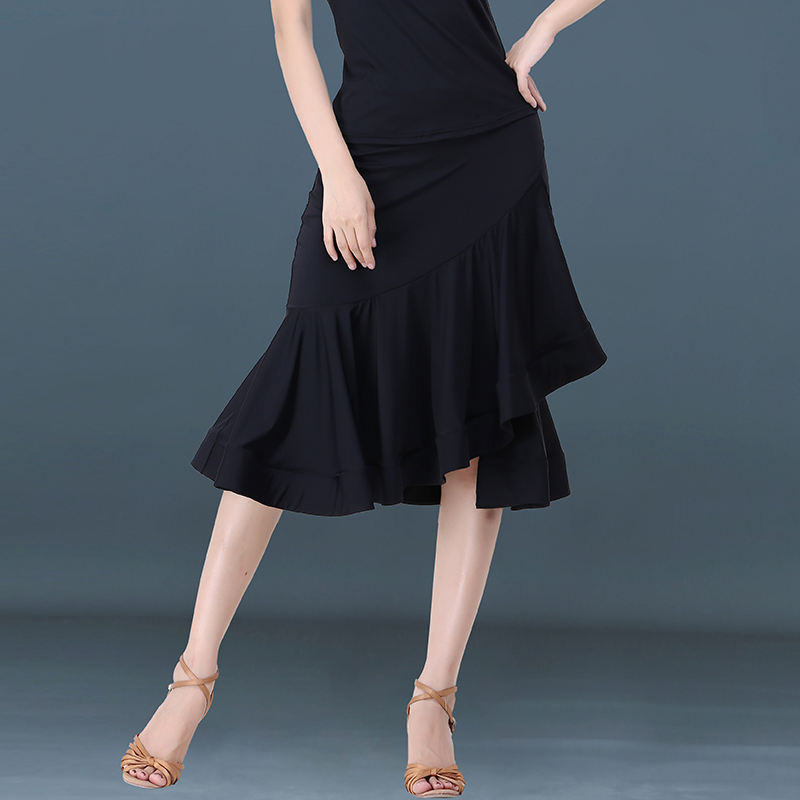 2019 Latin Dance Skirt Women Ice Silk Fish Bone Long Skirts Ladies Samba Tango Salsa Cha Cha Clothing Performance Wear DN3095