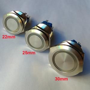 16 мм 19 мм 22 мм 25 мм 30 мм 6 в 12 В 230 В кольцо светодиодное освещение Мгновенный кнопочный переключатель DPST Металл промышленная лодка автомобиль DIY Переключатель