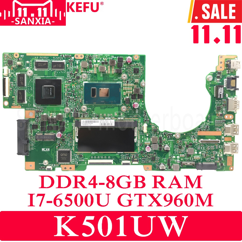 KEFU K501UW/UX Laptop motherboard for ASUS K501UW K501UX K501UB K501U K501 Test original mainboard DDR4-8G RAM I7-6500U GTX960M for asus k501ux k501ub laptop motherboard k501ux mainboard rev2 0 i5 cpu with graphics card 100
