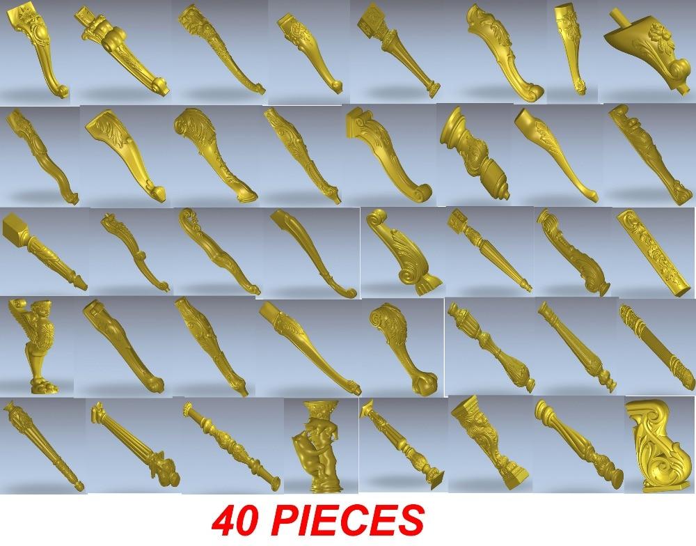 40 Pieces CNC 3D Models For Cnc Router Carve Engrave Artcam Type3 Wood Furniture Part Legs