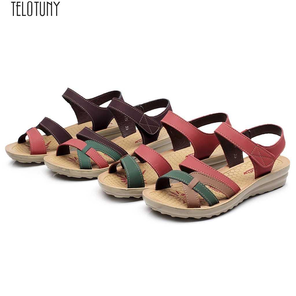 SAGACE damskie sandały damskie damskie letnie modne skórzane sandały kliny komfortowe buty w dużych rozmiarach kliny okrągłe Toe damskie buty