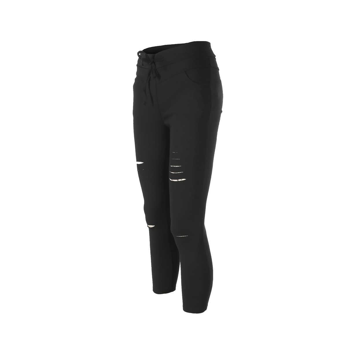 Yeni kadın sıska yırtık diz delik bandaj kot katı renk varış pantolon yüksek bel streç ince kalem pantolon